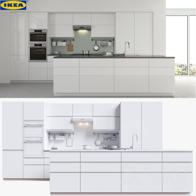 3d models kitchen ikea voxtorp. Black Bedroom Furniture Sets. Home Design Ideas