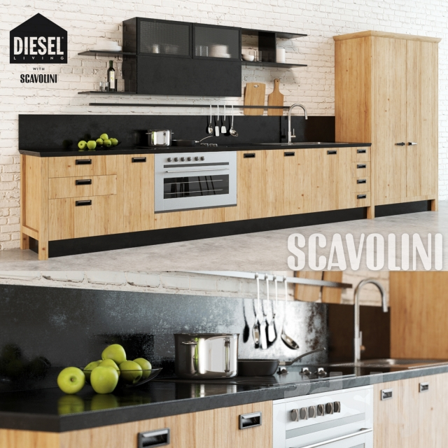 3d models kitchen scavolini diesel social kitchen 1 - Kitchens scavolini ...