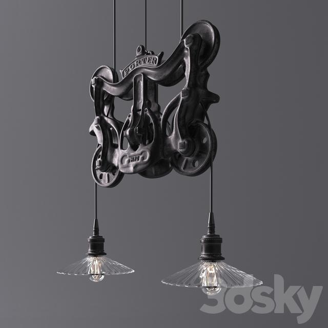 3d Models Ceiling Light Rh Cast Iron Barn Door Trolley Pendant