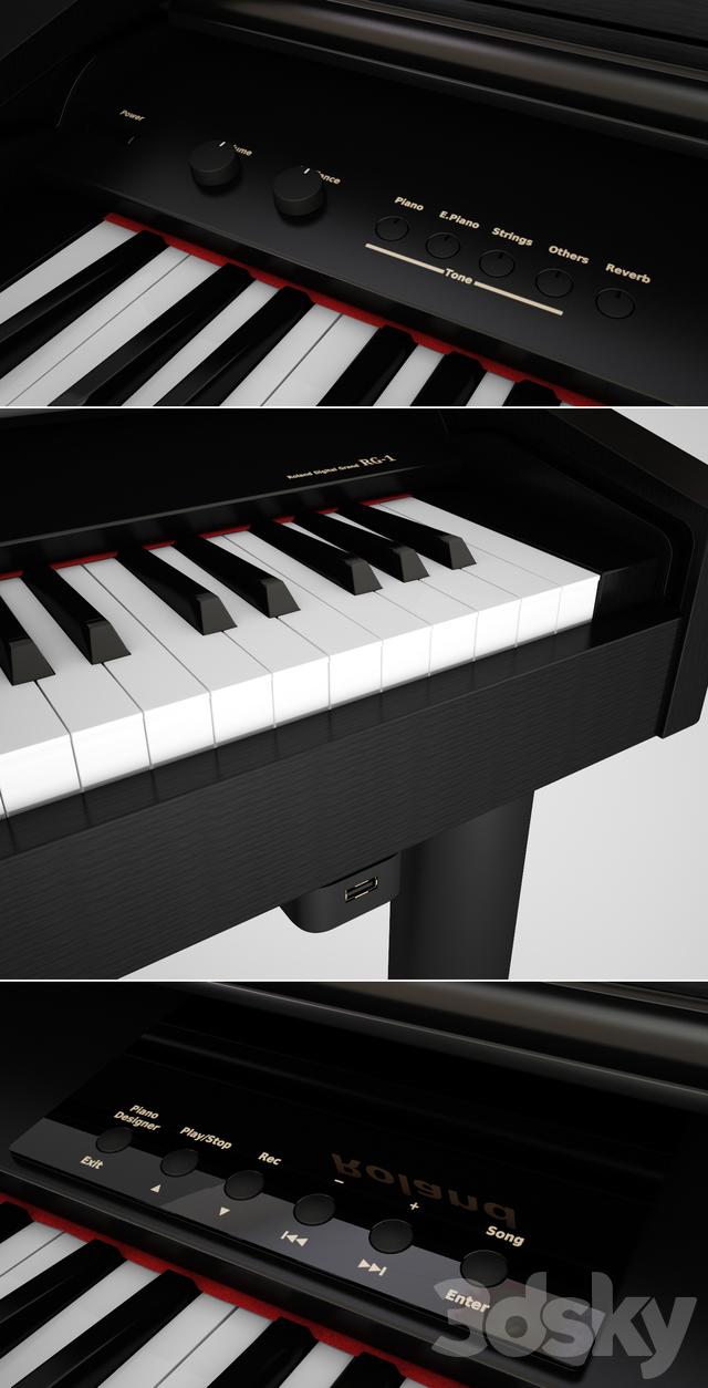 3d models musical instrument digital mini piano roland rg 1f. Black Bedroom Furniture Sets. Home Design Ideas