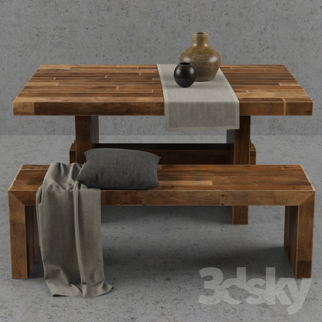 3d models table chair west elm emmerson dining table set for West elm c table