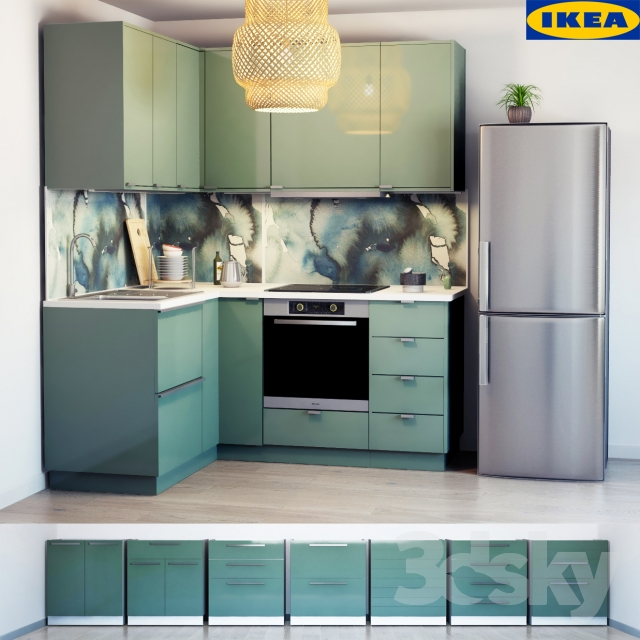 3d models kitchen ikea kitchen kallarp - Cuisine ikea gris turquoise ...