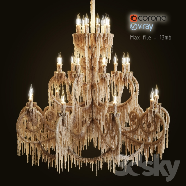 Chandelier bathed in wax