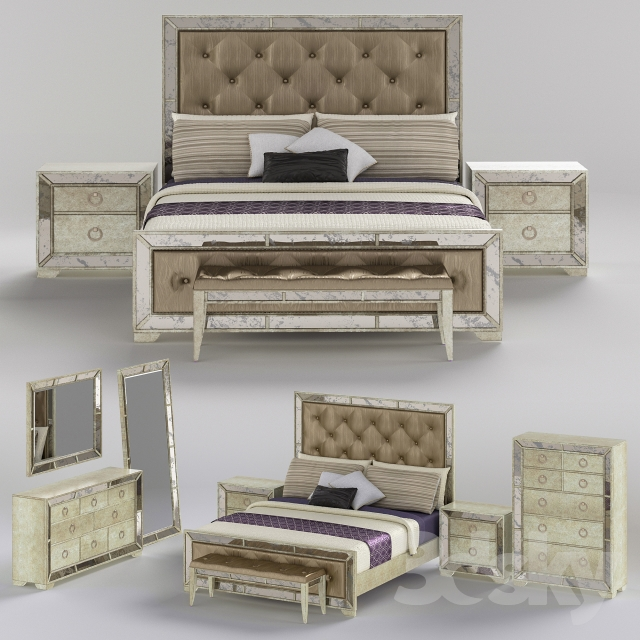 Farrah Panel Bedroom Set In Silver Metallic
