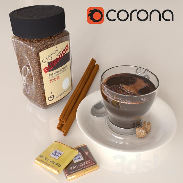 Coffee bushido and decorative set
