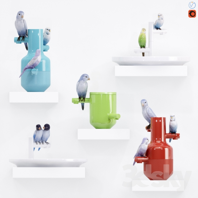 "A set of vases ""The Parrot Party"""