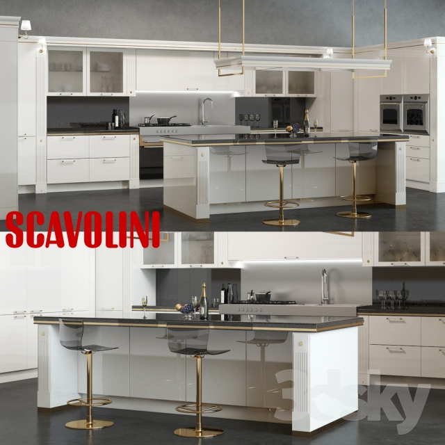 3d models kitchen scavolini baccarat kitchen white for Model kitchens with white cabinets