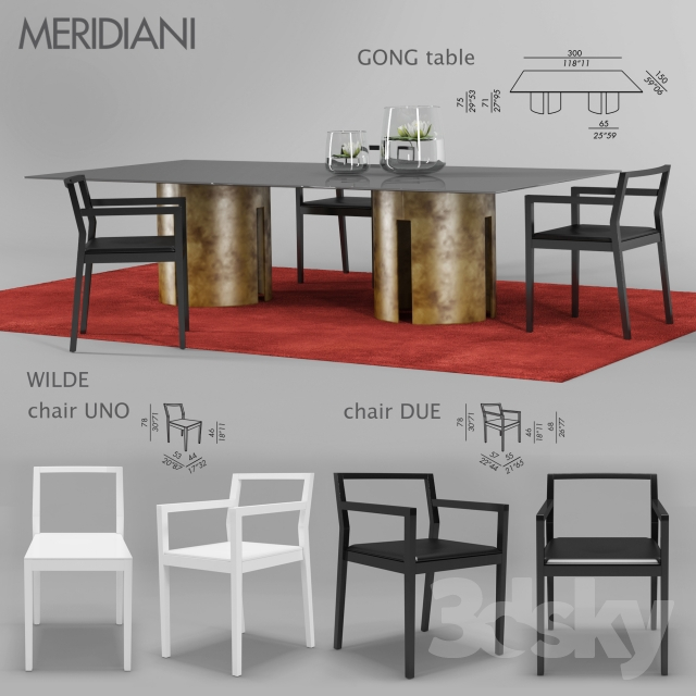 Meridiani Gong Table Wilde Chair
