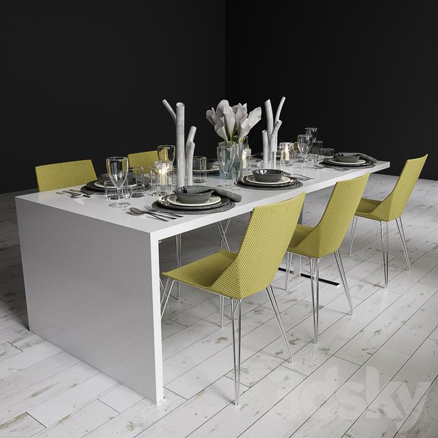3d models table chair ligne roset cineline elsa. Black Bedroom Furniture Sets. Home Design Ideas