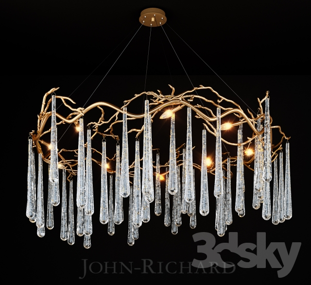 3d models ceiling light john richard brass and glass teardrop john richard brass and glass teardrop eight light chandelier mozeypictures Image collections