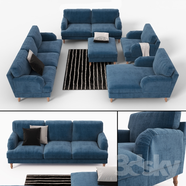 3d Models Sofa Ikea Stocksund Sofa Chair Ottoman