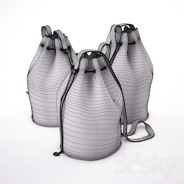 3d models: Other decorative objects - Drawstring Leather Bag