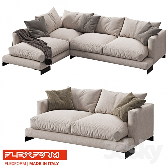 3d models: Sofa - FLEXFORM LONG ISLAND 2 sofas