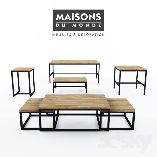 3d models table maisons du monde long island table collection. Black Bedroom Furniture Sets. Home Design Ideas