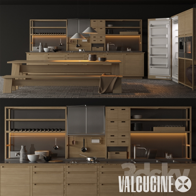 3d models: Kitchen - Valcucine - Sine tempore, gaggenau pack