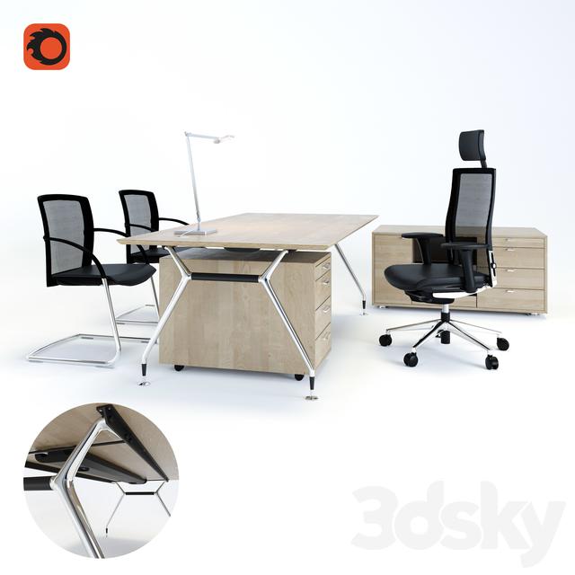 Merveilleux Desk Summa M (Koenig + Neurath, Germany), Chair Okay II (Koenig