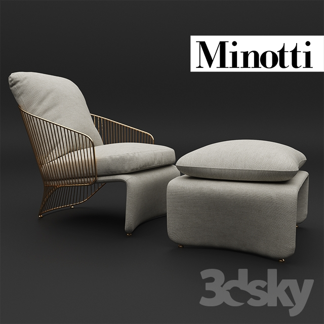 3d Models Arm Chair Minotti Colette