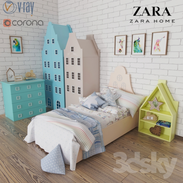 3d Models Wardrobe A Set Of Furniture And Bedding Amsterdam Zara Home