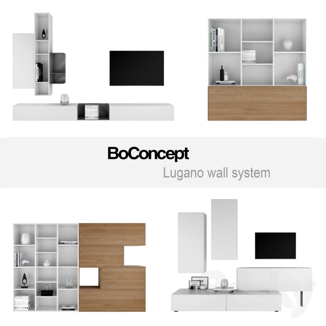 3d models other boconcept lugano wall system set 1. Black Bedroom Furniture Sets. Home Design Ideas