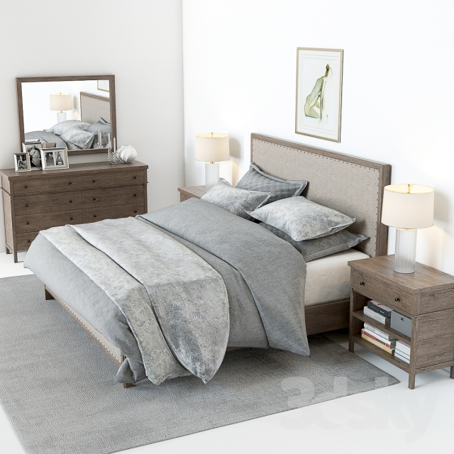 3d Models Bed Pottery Barn Toulouse Bedroom Set
