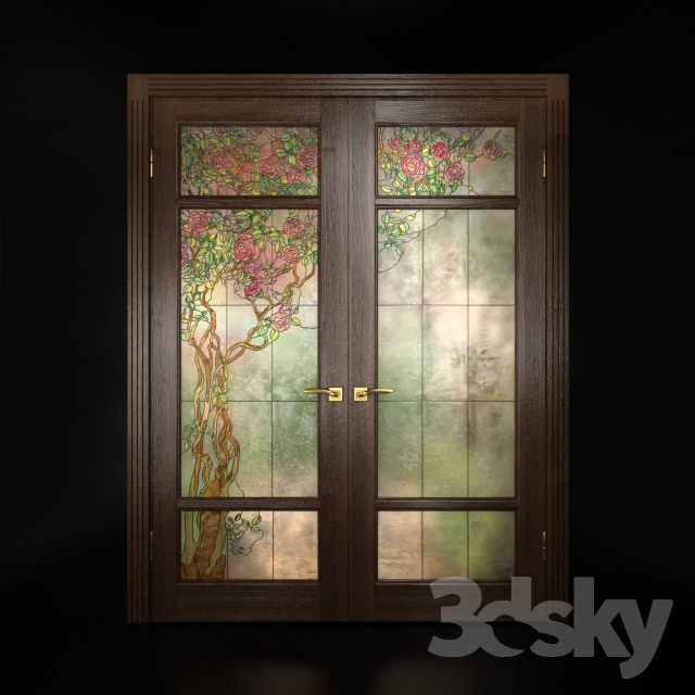 3d Models Doors A Set Of Two Double Doors With Stained Glass