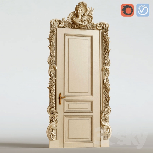 3d models: Doors - The palace door with carved platbands