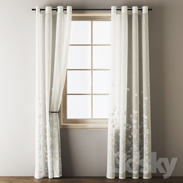 D models curtain floral embroidered linen eyelet curtains