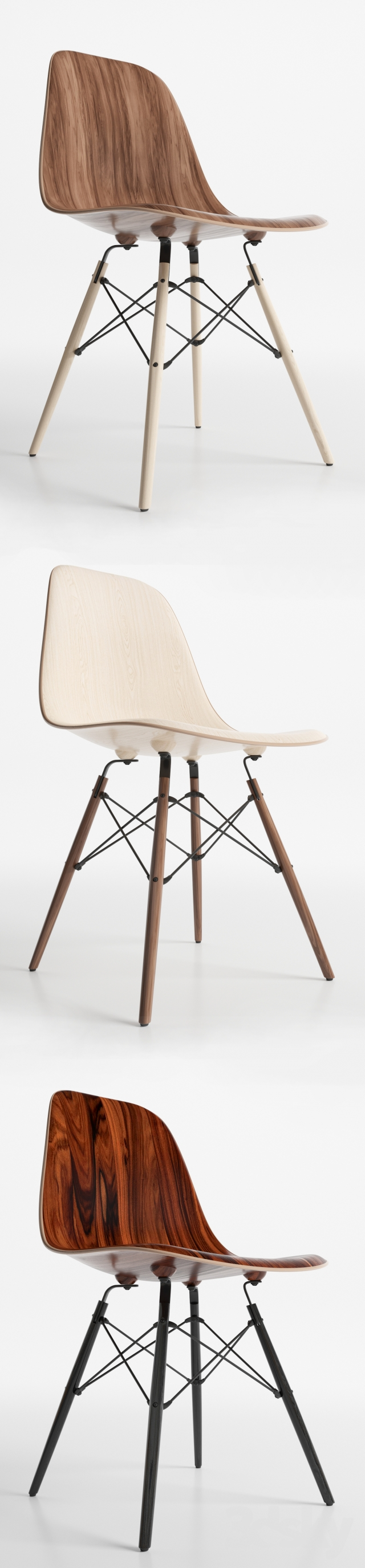 3d models chair eames dsw wood chairs for Eames wooden chair