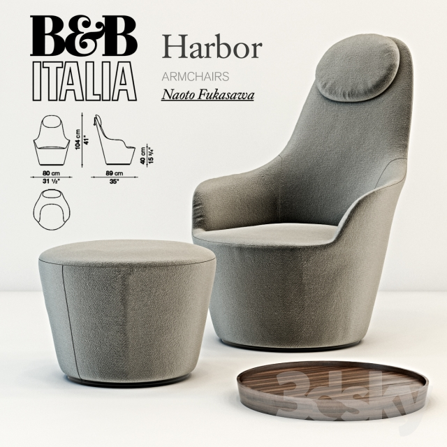 3d models arm chair b b italia harbor armchair 2017. Black Bedroom Furniture Sets. Home Design Ideas