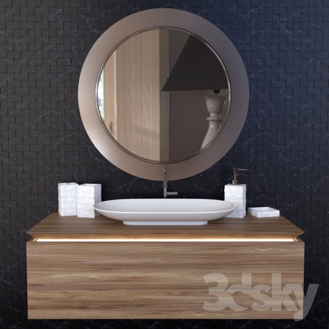 3d models bathroom furniture schwarz wei mosaik badezimmer set. Black Bedroom Furniture Sets. Home Design Ideas