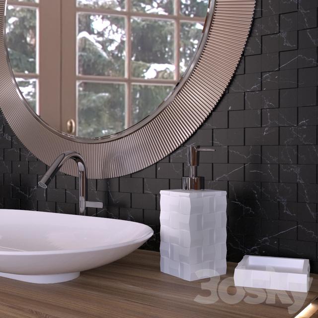 3d Models: Bathroom Furniture   Schwarz Weiß Mosaik Badezimmer Set