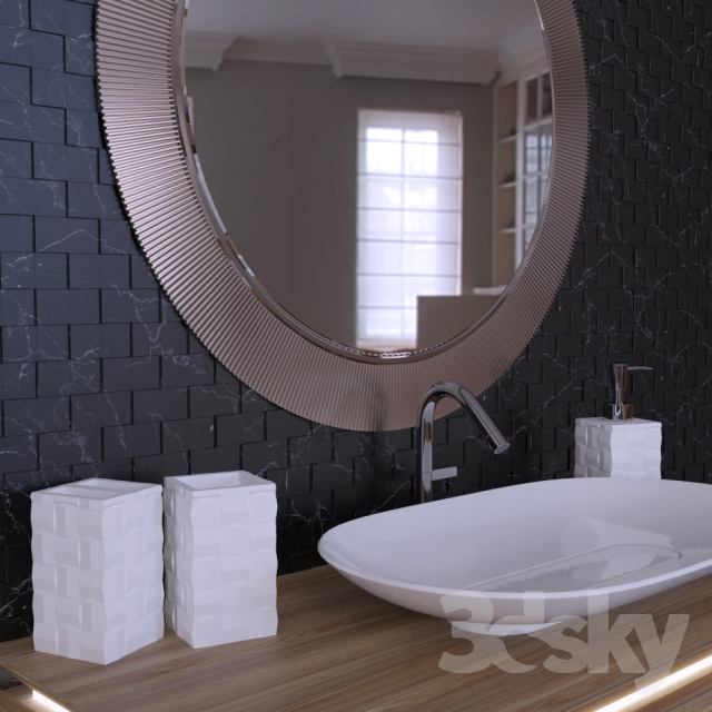Superb 3d Models: Bathroom Furniture   Schwarz Weiß Mosaik Badezimmer Set Nice Look