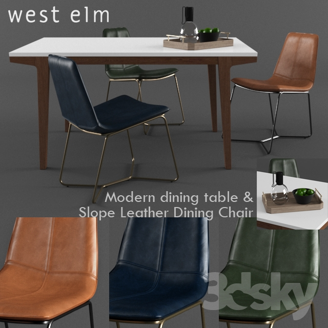 West Elm Slope Leather Dining Chair With Modern Table