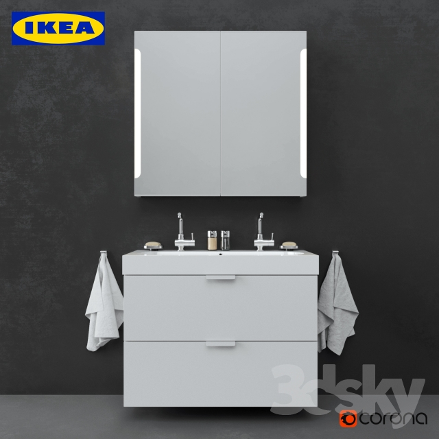 3d models bathroom furniture ikea bathroom set 01 - Bathroom accessories sets ikea ...