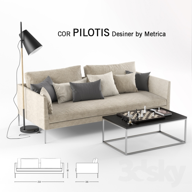 3d models sofa pilotis by metrica. Black Bedroom Furniture Sets. Home Design Ideas