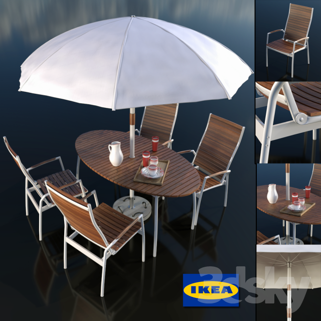 3d Models Table Chair Set Of Table And Chairs