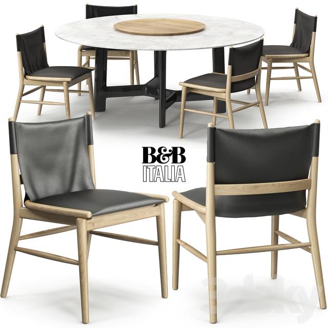 3d models: Table + Chair - Jens chair Alex table B&B Italia