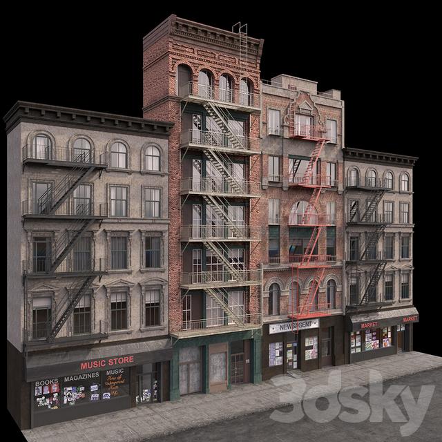 3d models: Building - New York Brooklyn buildings fasads