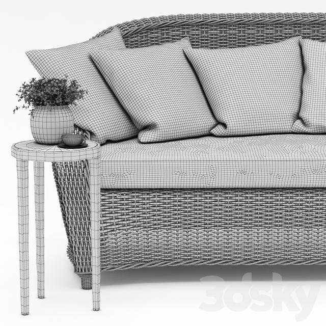 3d Models Sofa TORREY ALL WEATHER WICKER ROLL ARM SOFA
