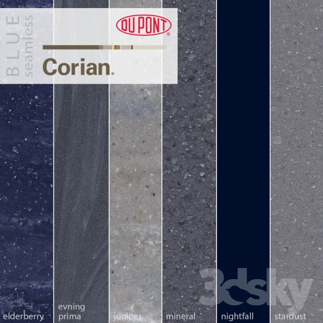 3d Models Stone Dupont Corian Kitchen Countertops Blue 2