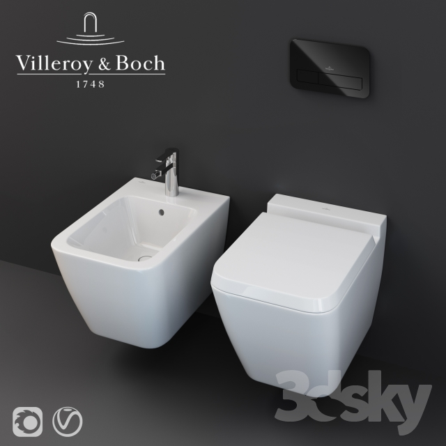 3d models toilet and bidet villeroy boch finion. Black Bedroom Furniture Sets. Home Design Ideas