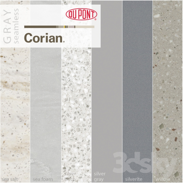 3d Models Stone Dupont Corian Kitchen Countertops Gray 2
