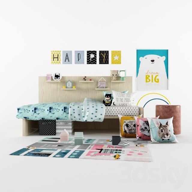 3d models full furniture set h m kids room accessories. Black Bedroom Furniture Sets. Home Design Ideas