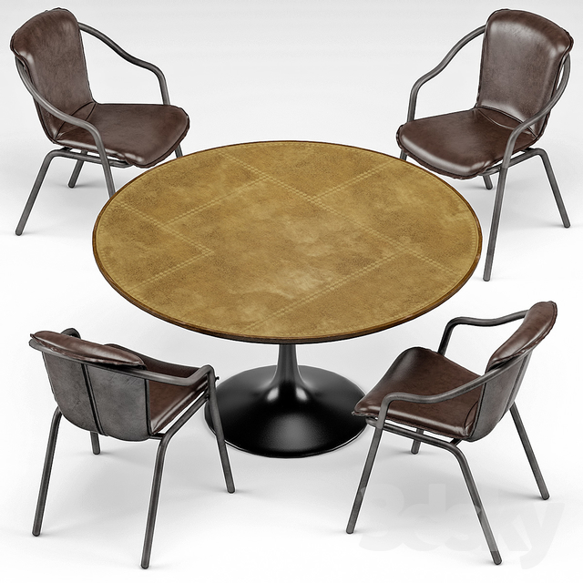 Squire Industrial Armchair, Charles Industrial Brass Dining Table