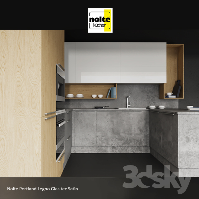 3d models kitchen nolte portland legno glas tec satin. Black Bedroom Furniture Sets. Home Design Ideas
