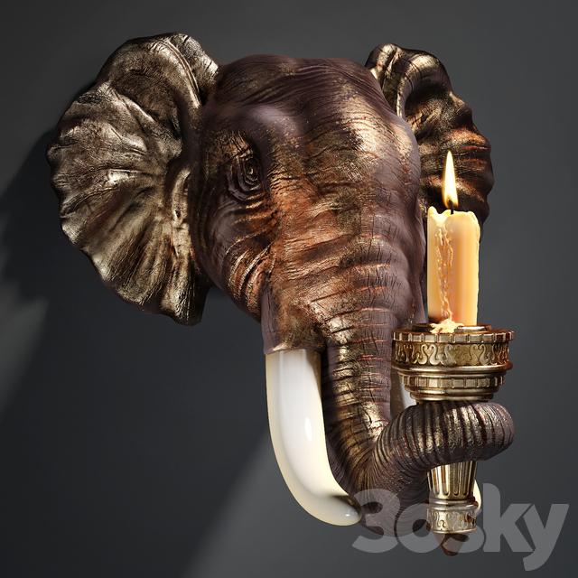Design Toscano Elephant Sculptural Wall Sconce & 3d models: Other decorative objects - Design Toscano Elephant ...