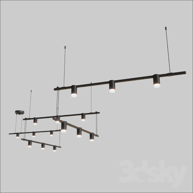 3d models: Technical lighting - SUSPENDERS® 36 5-BAR ZIG ZAG