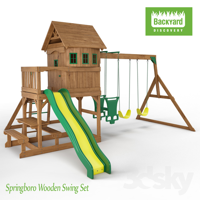 3d Models Other Architectural Elements Springboro Wooden Swing Set