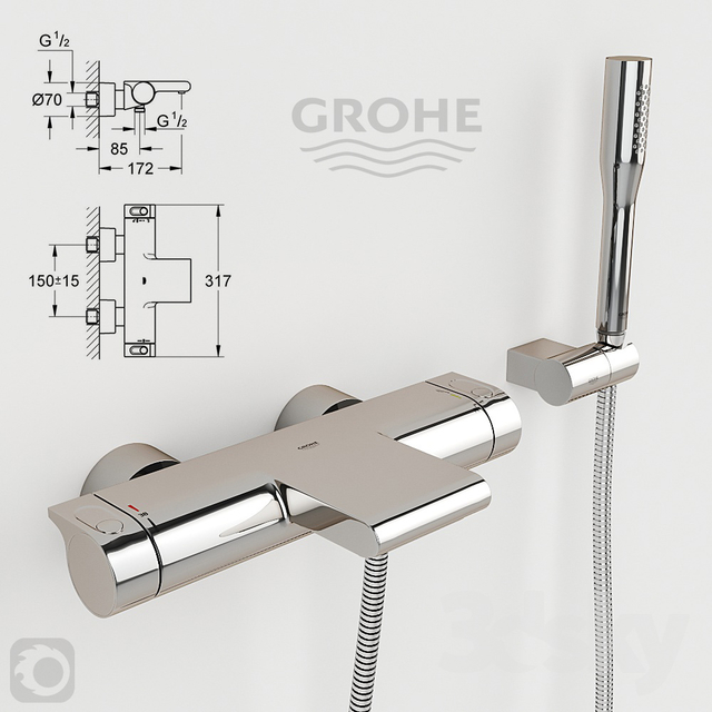 3d models faucet thermostat grohe grohtherm 2000 34174001. Black Bedroom Furniture Sets. Home Design Ideas
