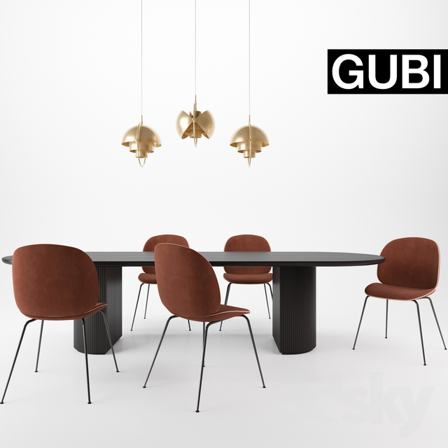 3d Models Table Chair Gubi Beetle Chair Moon Table